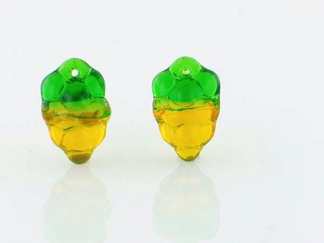 25 Count Czech Glass Transparent Yellow & Green Grape Cluster Beads (Closeout)