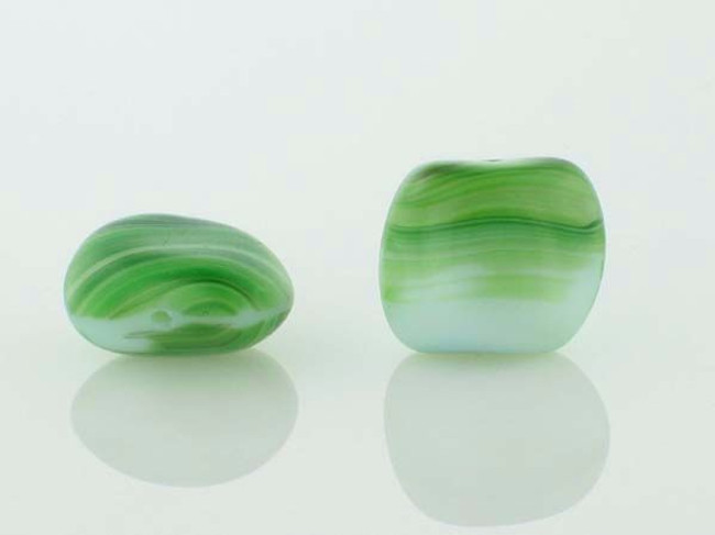15 Count 13mm Green With White Stripes Czech Glass Pillow Twist  (Closeout)