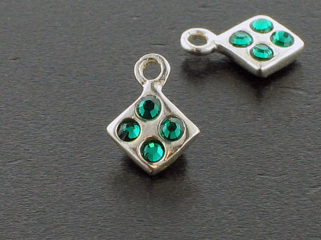 Diamond Sterling Silver Charm With Faceted Emerald Austrian Crystal - Pkg Of 10 (Closeout)