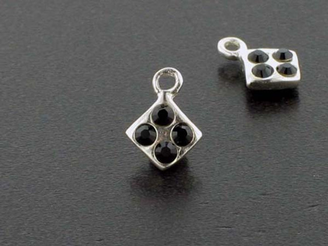 Diamond Sterling Silver Charm With Faceted Jet Austrian Crystal - Pkg Of 10 (Closeout)