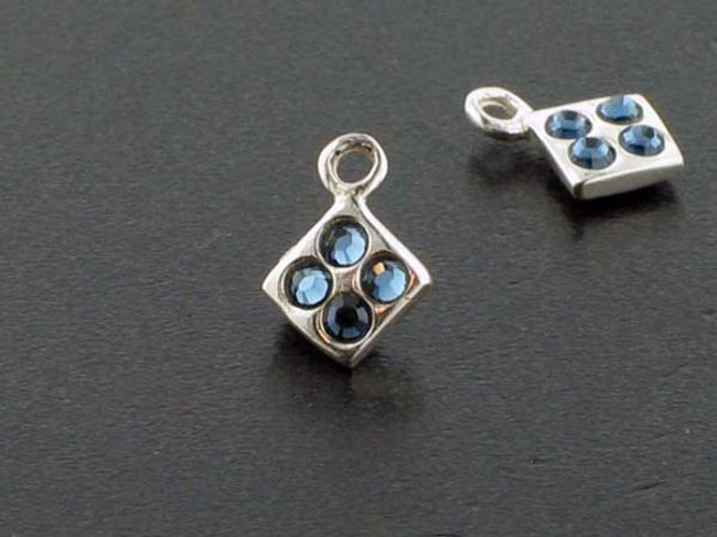 Diamond Sterling Silver Charm With Faceted Montana Austrian Crystal - Pkg Of 10 (Closeout)