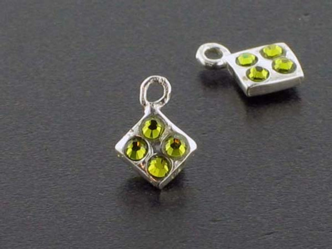 Diamond Sterling Silver Charm With Faceted Olivine Austrian Crystal - Pkg Of 10 (Closeout)