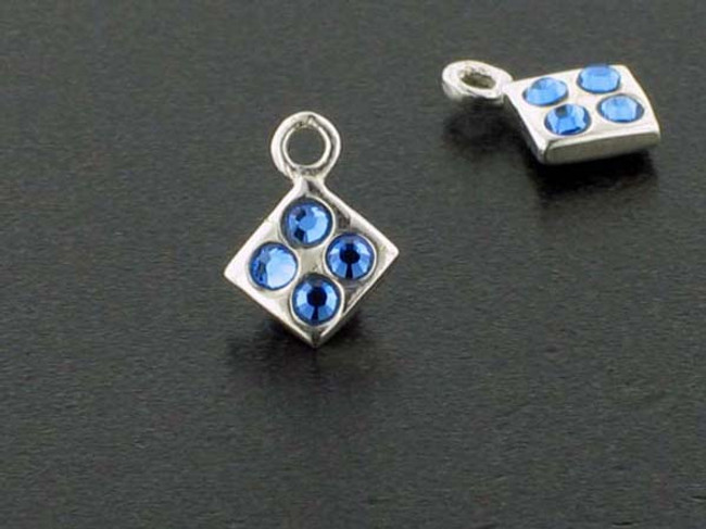 Diamond Sterling Silver Charm With Faceted Sapphire Austrian Crystal - Pkg Of 10 (Closeout)