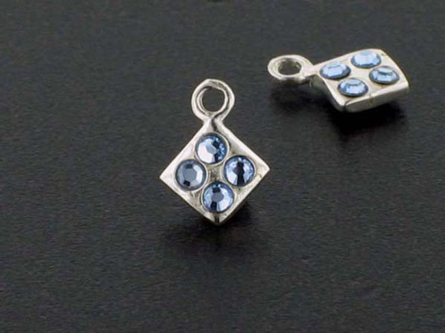 Diamond Sterling Silver Charm With Faceted Light Sapphire Austrian Crystal - Pkg Of 10 (Closeout)