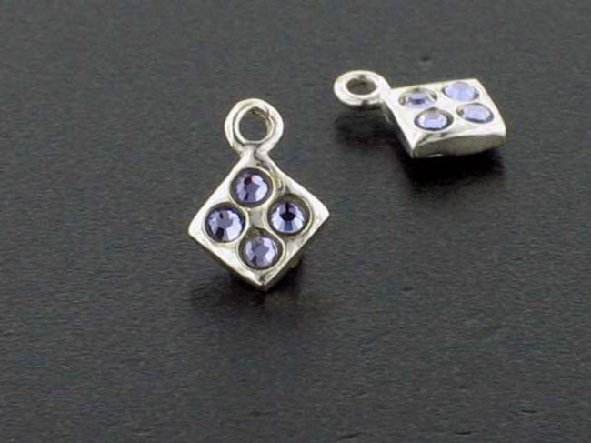 Diamond Sterling Silver Charm With Faceted Tanzanite Austrian Crystal - Pkg Of 10 (Closeout)