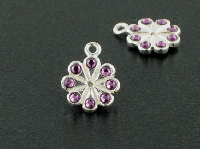 Flower Sterling Silver Charm With Faceted Amethyst Austrian Crystal - Pkg Of 4 (Closeout)