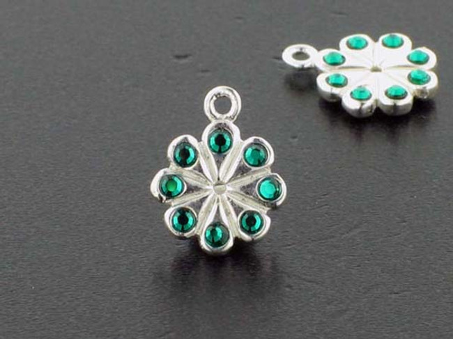 Flower Sterling Silver Charm With Faceted Emerald Austrian Crystal - Pkg Of 4 (Closeout)
