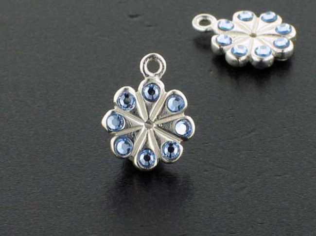 Flower Sterling Silver Charm With Faceted Light Sapphire Austrian Crystal - Pkg Of 4 (Closeout)