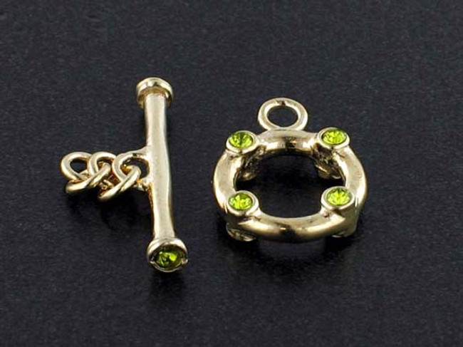 18k Gold Plated Toggle With Faceted Olivine Austrian Crystal - Pkg Of 2 (Closeout)