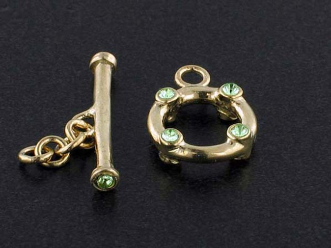 18k Gold Plated Toggle With Faceted Peridot Austrian Crystal - Pkg Of 2 (Closeout)
