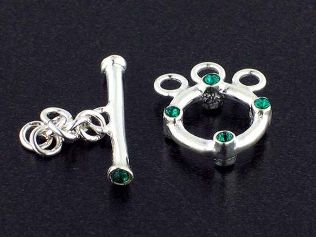 3-Strand Sterling Silver Toggle With Faceted Emerald Austrian Crystal - Pkg Of 3 (Closeout)