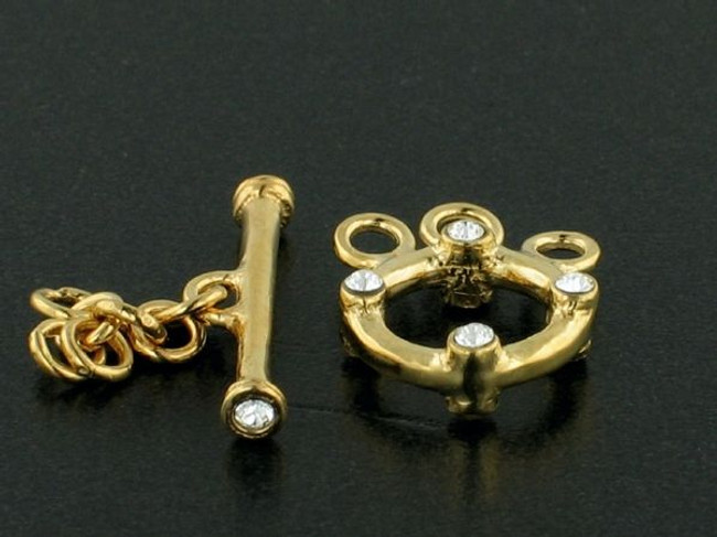 3-Strand 18k Gold-Plated Toggle With Faceted Austrian Crystal - Pkg Of 2 (Closeout)