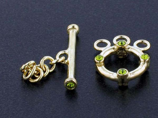 3-Strand 18k Gold-Plated Toggle With Faceted Olivine Austrian Crystal - Pkg Of 2 (Closeout)