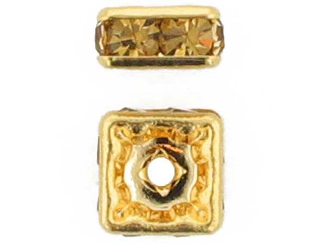 6mm Gold Plated Finish Light Colorado Topaz Austrian Crystal Squaredelles - Pkg Of 15 (Closeout)