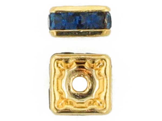 6mm Gold Plated Finish Montana Austrian Crystal Squaredelles - Pkg Of 15 (Closeout)
