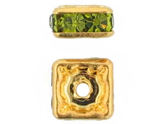 6mm Gold Plated Finish Olivine Austrian Crystal Squaredelles - Pkg Of 15 (Closeout)