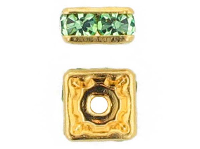 6mm Gold Plated Finish Peridot Austrian Crystal Squaredelles - Pkg Of 15 (Closeout)