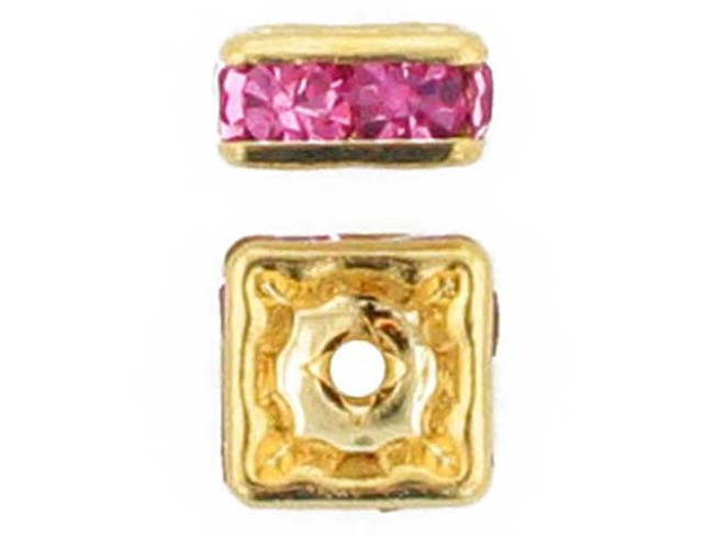 6mm Gold Plated Finish Rose Austrian Crystal Squaredelles - Pkg Of 15 (Closeout)