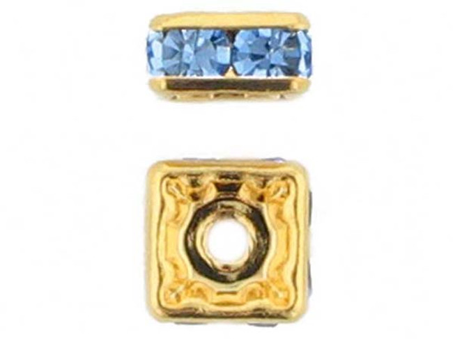 6mm Gold Plated Finish Light Sapphire Austrian Crystal Squaredelles - Pkg Of 15 (Closeout)
