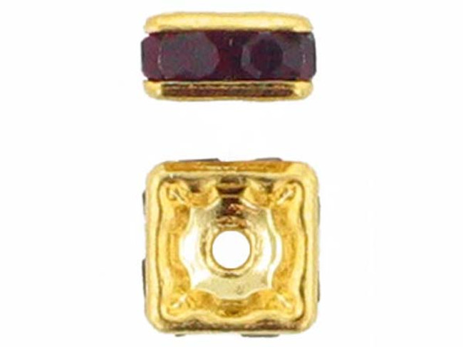 6mm Gold Plated Finish Siam Ruby Austrian Crystal Squaredelles - Pkg Of 15 (Closeout)