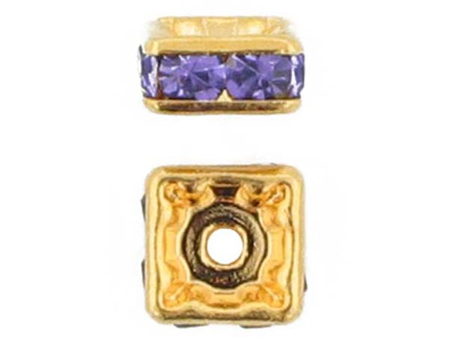 6mm Gold Plated Finish Tanzanite Austrian Crystal Squaredelles - Pkg Of 15 (Closeout)