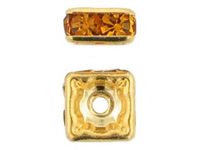 6mm Gold Plated Finish Topaz Austrian Crystal Squaredelles - Pkg Of 15 (Closeout)