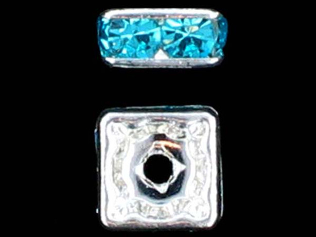 6mm Silver Plated Finish Aqua Austrian Crystal Squaredelles - Pkg Of 15 (Closeout)