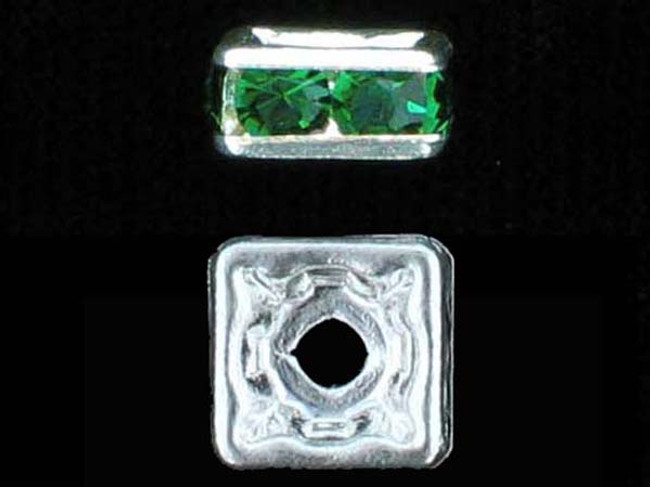 6mm Silver Plated Finish Emerald Austrian Crystal Squaredelles - Pkg Of 15 (Closeout)