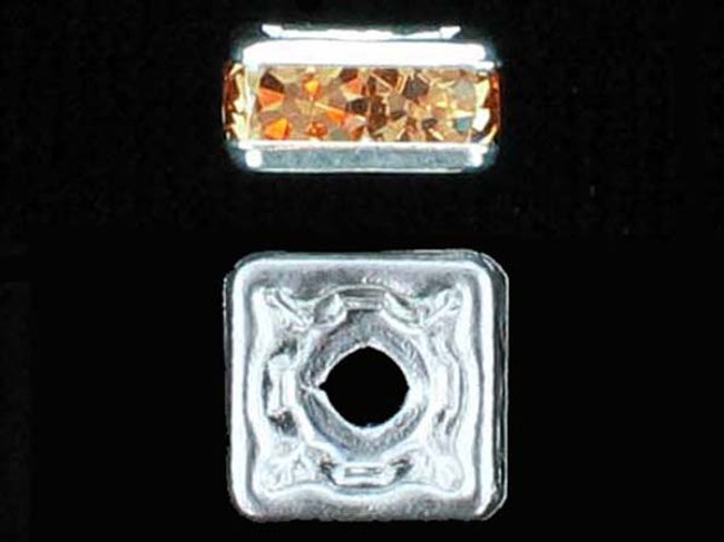 6mm Silver Plated Finish Light Colorado Topaz Austrian Crystal Squaredelles - Pkg Of 15 (Closeout)