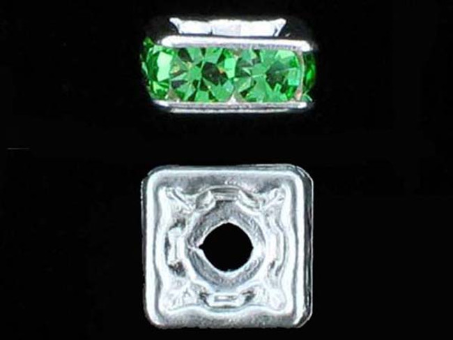 6mm Silver Plated Finish Peridot Austrian Crystal Squaredelles - Pkg Of 15 (Closeout)