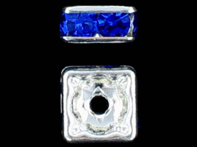 6mm Silver Plated Finish Sapphire Austrian Crystal Squaredelles - Pkg Of 15 (Closeout)