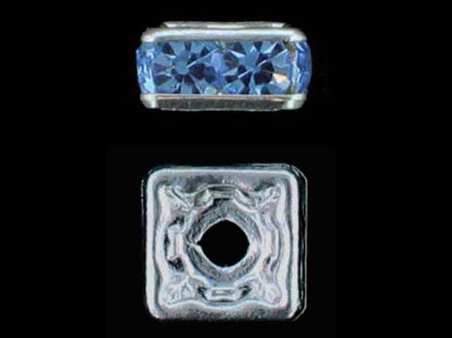 6mm Silver Finish Light Sapphire Austrian Crystal Squaredelles - Pkg Of 15 (Closeout)