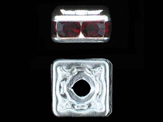 6mm Silver Plated Finish Siam Ruby Austrian Crystal Squaredelles - Pkg Of 15 (Closeout)