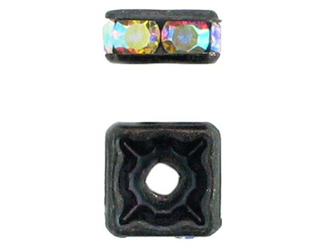 8mm Blackened Finish Ab Austrian Crystal Squaredelles - Pkg Of 12 (Closeout)