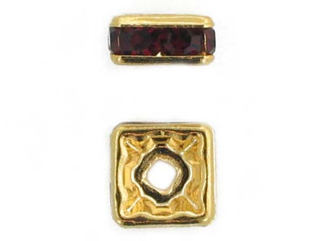8mm Gold Plated Finish Siam Ruby Austrian Crystal Squaredelles - Pkg Of 12 (Closeout)