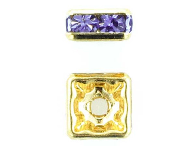 8mm Gold Plated Finish Tanzanite Austrian Crystal Squaredelles - Pkg Of 12 (Closeout)