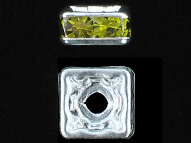8mm Silver Plated Finish Olivine Austrian Crystal Squaredelles - Pkg Of 12 (Closeout)