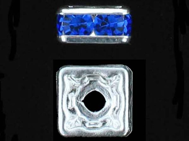 8mm Silver Plated Finish Sapphire Austrian Crystal Squaredelles - Pkg Of 12 (Closeout)