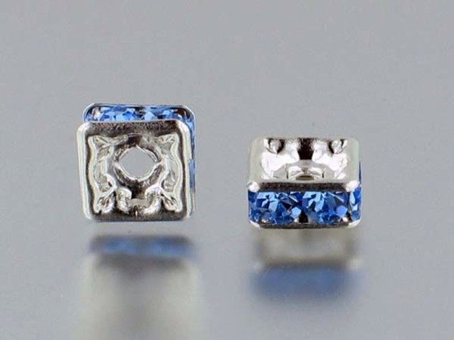 8mm Silver Plated Finish Light Sapphire Austrian Crystal Squaredelles - Pkg Of 12 (Closeout)