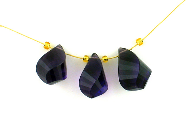 3 Count Varied Sizes Dark Amethyst Faceted Twist Drops '1 Of A Kind' (Sale)