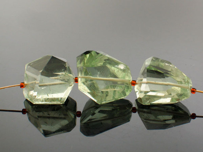 3 Count Varied Size Green Amethyst Simple Cut Nuggets (Sale)