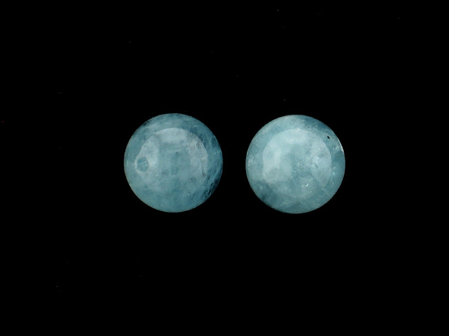 2 Count 12mm Blue Aquamarine (AA) Polished Rounds (Sale)