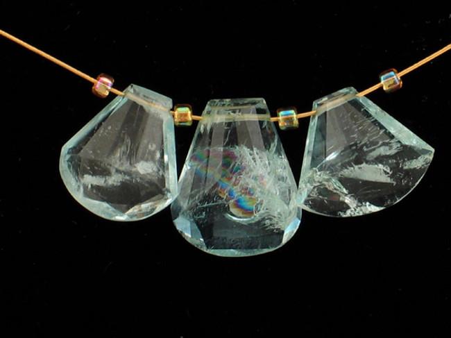 3 Count  Varied Sizes Blue Aquamarine Faceted Fancy Cut Pendant '1 Of A Kind' (Sale)