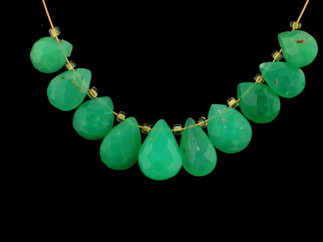 10 Count Varied Sizes Green Chrysoprase Faceted Pears (Sale)