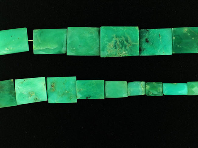 21 Count Graduated Chrysoprase Faceted Rectangles (Sale)