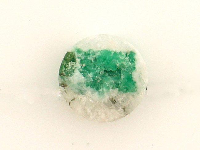 1 Count 15x6mm Green And White Rough Brazil Emerald In Matrix Coin '1 Of A Kind'  (Sale)