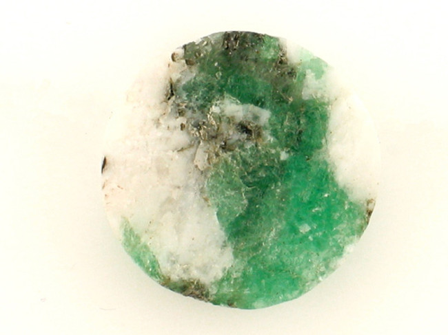 1 Count 21x7mm Green And White Rough Brazil Emerald In Matrix Coin '1 Of A Kind'  (Sale)
