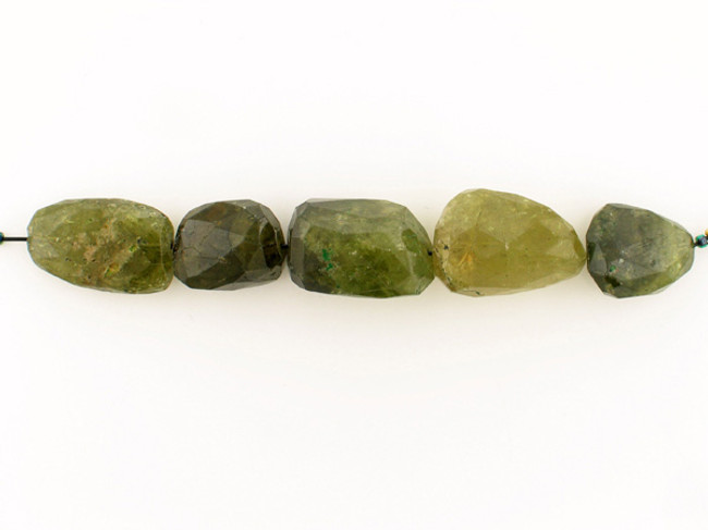 5 Count Varied Size Green Garnet Faceted Nuggets (Sale)