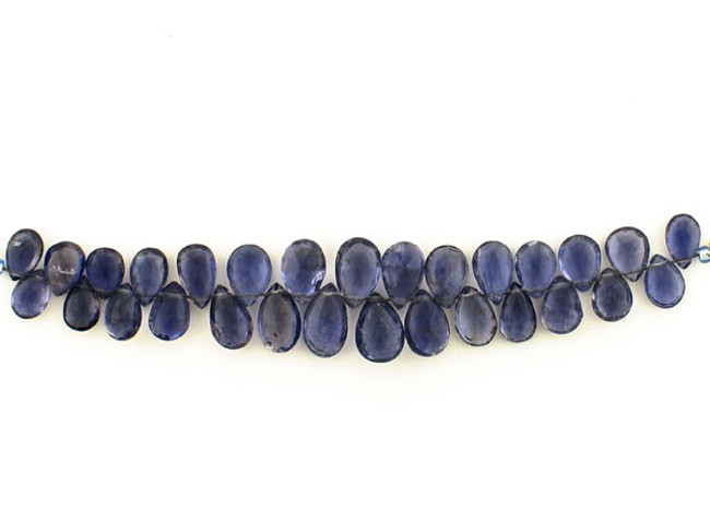 28 Count Graduated Violet Blue Iolite Long Faceted Pears (Sale)