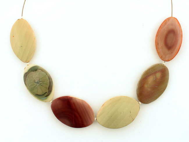 6 Count Graduated Multicolor Imperial Jasper Smooth Flat Ovals (Sale)
